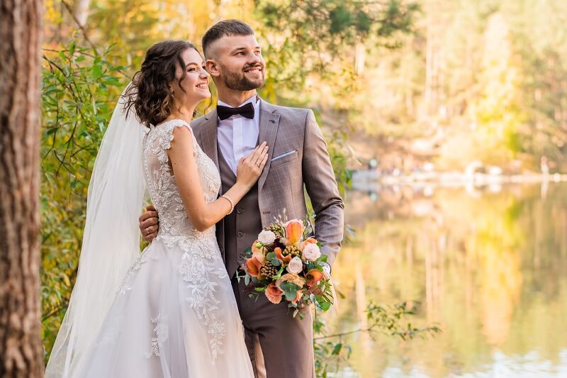 Image of bride in white wedding dress and groom in grey suit